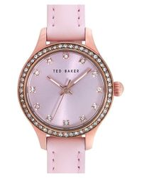 Ted Baker | Pink Crystal Bezel Leather Strap Watch | Lyst
