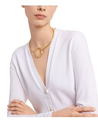 Tory Burch - Metallic Oval Metal Collar Necklace - Lyst