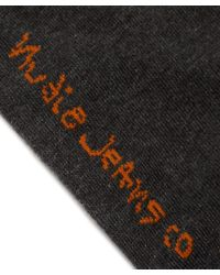 Nudie Jeans | Orange Grey Melange Flash Sock | Lyst