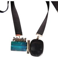Marni - Blue Fabric And Stones Necklace - Lyst