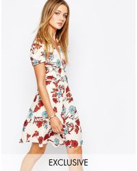 Glamorous | Red Wrap Front Tea Dress In Vintage Floral | Lyst