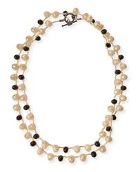 An Old Soul - Black & Sand Crystal Long Necklace - Lyst