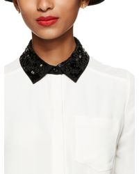 kate spade new york - Natural Sequin Collar Shirttail Top - Lyst