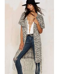 Nasty Gal | Gray Chill Factor Fringe Cardigan | Lyst