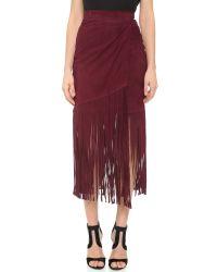 Tamara Mellon Purple Layered Fringe Silk Skirt