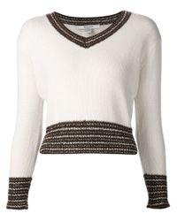Rodarte - White Contrast Trim V-neck Sweater - Lyst