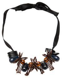 Marni - Brown Ribbon Flower Necklace - Lyst
