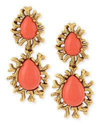 Oscar de la Renta | Orange Coral Branch Cabochon Earrings | Lyst