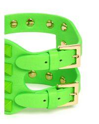 Valentino | Green 'rockstud' Cutout Leather Bracelet | Lyst