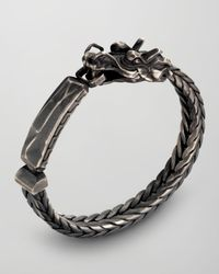 John Hardy Gray Naga Dragon Head Id Bracelet for men