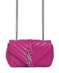 Saint Laurent Purple Monogram Baby Quilted Leather Bag