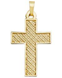 Macy's | Metallic Bold Cross Pendant In 14K Gold for Men | Lyst