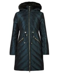 Ted Baker Blue Holoww Quilted Down Parka