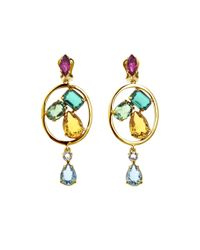 Oscar de la Renta | Multicolor Kelly Multi Crystal Drop Earrings | Lyst
