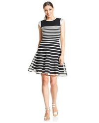 Betsy & Adam | White Cap-sleeve Ombre-stripe Dress | Lyst