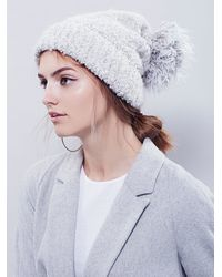 Free People | White Womens Marled Boucle Pom Beanie | Lyst