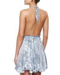 LoveShackFancy - Blue Feather-dyed Deep Halter Dress - Lyst
