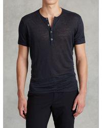 John Varvatos | Blue Jersey Trim Short Sleeve Henley for Men | Lyst