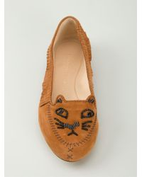 Charlotte Olympia Brown Kitty Suede Moccasins