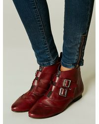 Free People Red Womens Muse Ankle Boot
