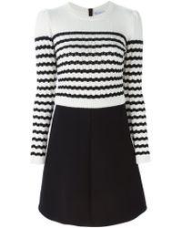 RED Valentino - Black Striped Sweater Dress - Lyst