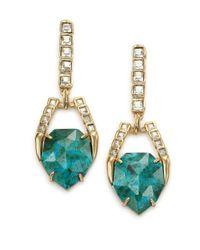 Alexis Bittar - Metallic Miss Havisham Mosaic Chrysocolla & Crystal Geometric Drop Earrings - Lyst