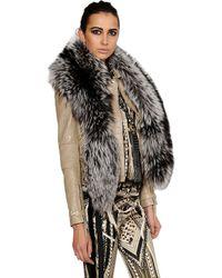 Roberto Cavalli Gray Silver Fox Fur Stole