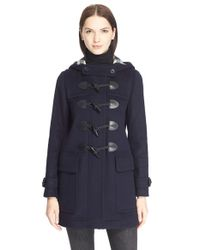 Burberry Brit | Black 'finsdale' Wool Duffle Coat | Lyst