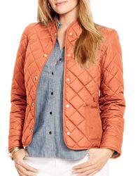 Ralph Lauren | Orange Lauren Plus Diamond Quilted Jacket | Lyst