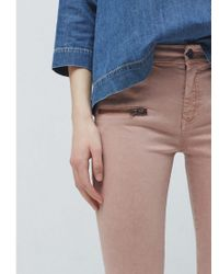 Mango Pink Cropped Skinny Trousers