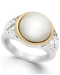 Macy's | Metallic Cultured Freshwater Pearl Rope Ring In Sterling Silver And 14k Gold (12mm) | Lyst