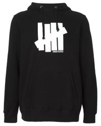 Undefeated Black Logo Print Hoodie for men
