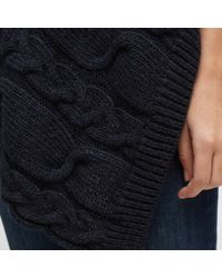 Jigsaw Blue Cable Knit Poncho