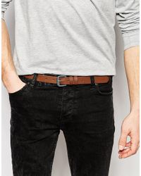ASOS | Skinny Belt In Brown Faux Leather With Gray Buckle for Men | Lyst