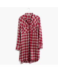 Madewell | Red Daywalk Shirtdress In Fairfax Plaid | Lyst