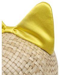 Federica Moretti Yellow Minu Woven Straw Hat With Silk Satin Bow