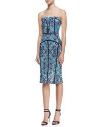 Nicole Miller Artelier - Blue Strapless Printed & Piped Seam Dress - Lyst