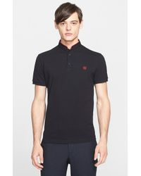 The Kooples | Black 'Sport' Band Collar Pique Polo for Men | Lyst