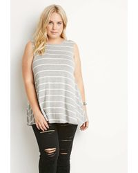 Forever 21 | Gray Plus Size Striped Trapeze Tank You've Been Added To The Waitlist | Lyst