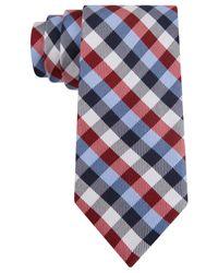 Tommy Hilfiger Blue Multi-gingham Slim Tie for men