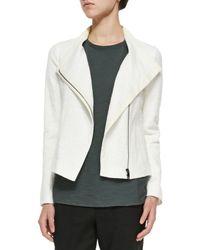 Vince - White Textured Knit Asymmetric Jacket - Lyst