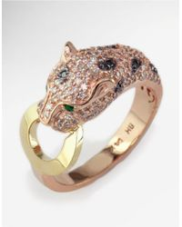 Effy | Metallic White And Black Diamond, Emerald, 14k Rose And Yellow Gold Ring, 0.66 Tcw | Lyst