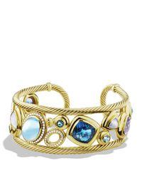 David Yurman | Metallic Mosaic Cuff With Blue Topaz And Diamonds In Gold | Lyst