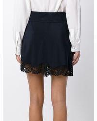 Chloé Black Silk And Lace Skirt