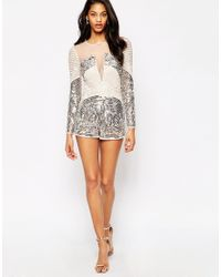 e6847a64fa Lyst - ASOS Heavily Embellished Occasion Playsuit