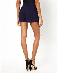 Little Mistress - Blue Floral Applique Shorts - Lyst