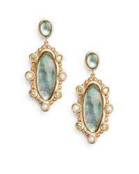 Stephen Dweck Green 2.5mm Pearl, Peridot & Mother-of-pearl Doublet Drop Earrings