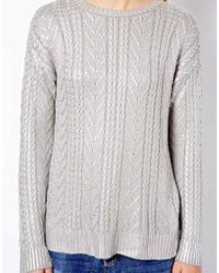 Mango - Gray Metallic Cable Knit Jumper - Lyst