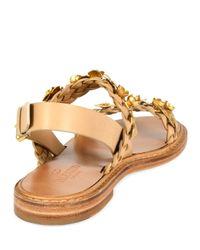 Valentino - Metallic Embellished Braided-Leather Sandals  - Lyst