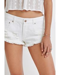 Forever 21 - Natural Distressed Denim Cutoffs - Lyst